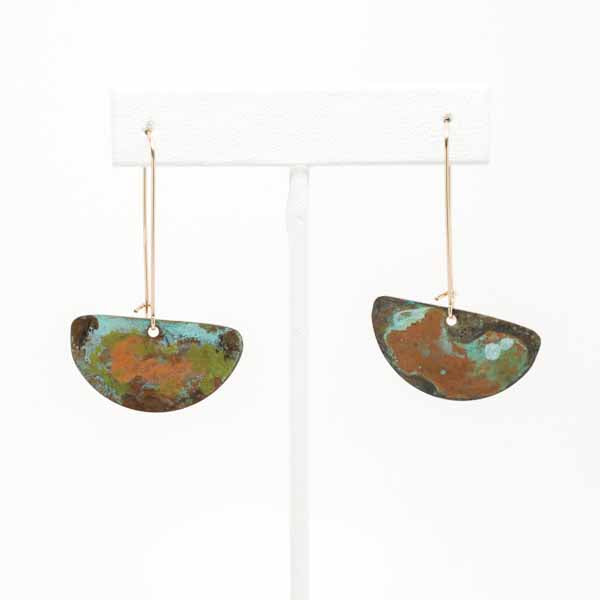 Rust & Aqua Patina Half Disc Earrings