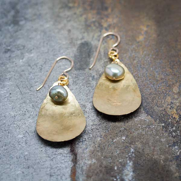 Hammered Teardrops & LT GREEN Pearls