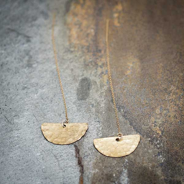 Hammered Brass Crescent Threader Earrings