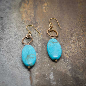Turquoise & Gold RIng Earrings