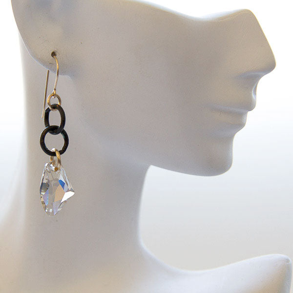 Swarovski Crystal & Black Chain Earrings