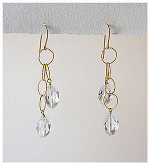 Crystal Quartz Dangling on Gold