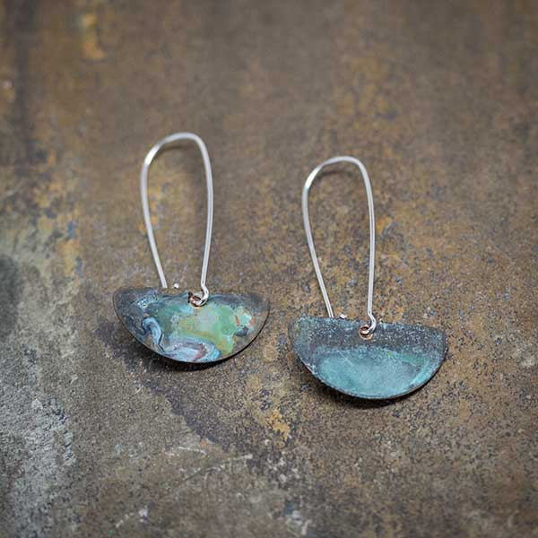 Green & Turquoise Patina on Silver Earrings