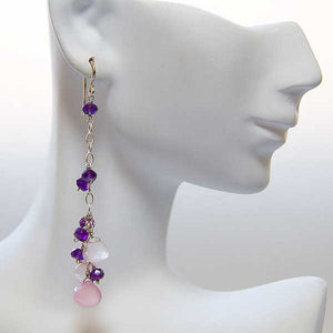 Amethyst & Pink Chalcedony Drop Earrings