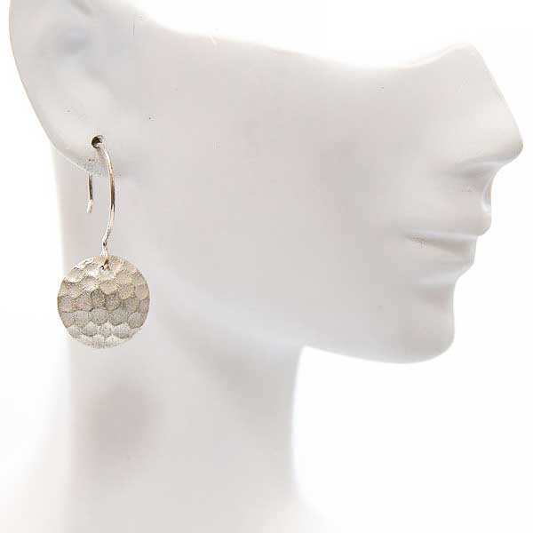 Fine Patterned Silver Disc Earrings