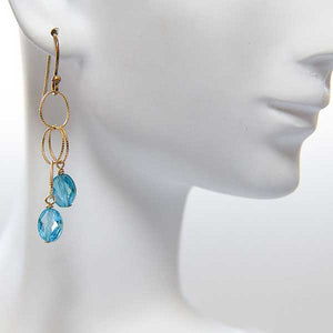 Aqua Blue CZ Drop Earrings