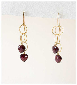 Heart Garnet Drop Earrings