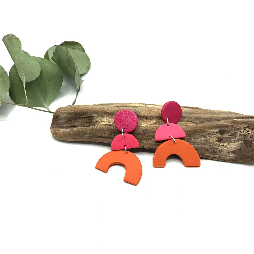 Raspberry, Blush and Pumpkin Arch Clay Earrings