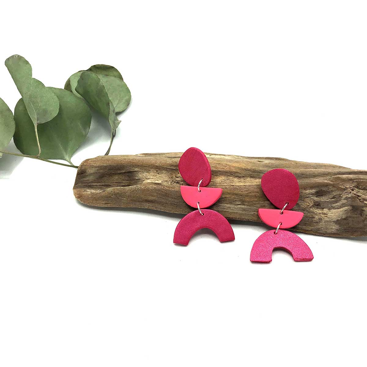 Raspberry & Blush Blob Arch Clay Earrings