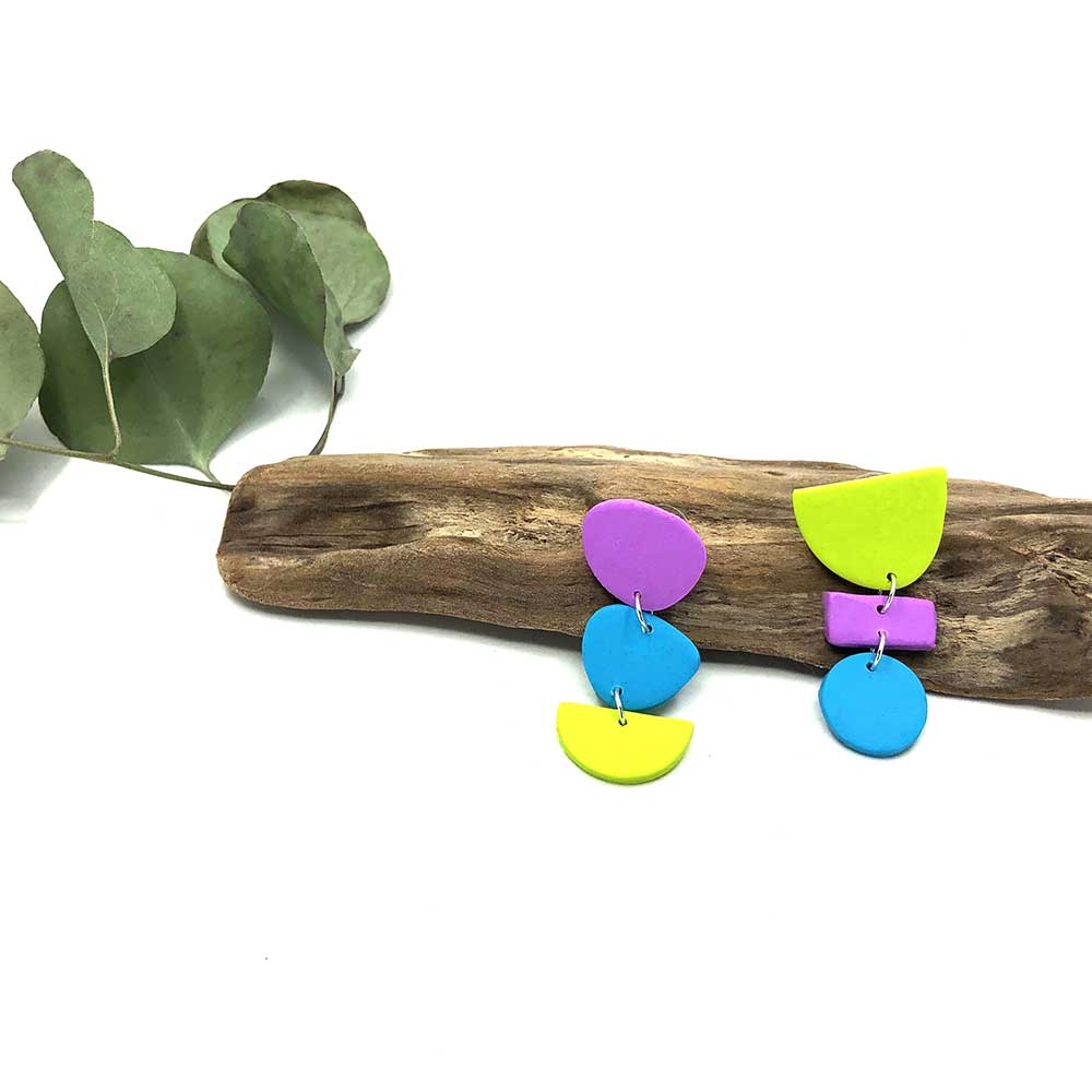 Cacophony of Shape & Colors Clay Earrings