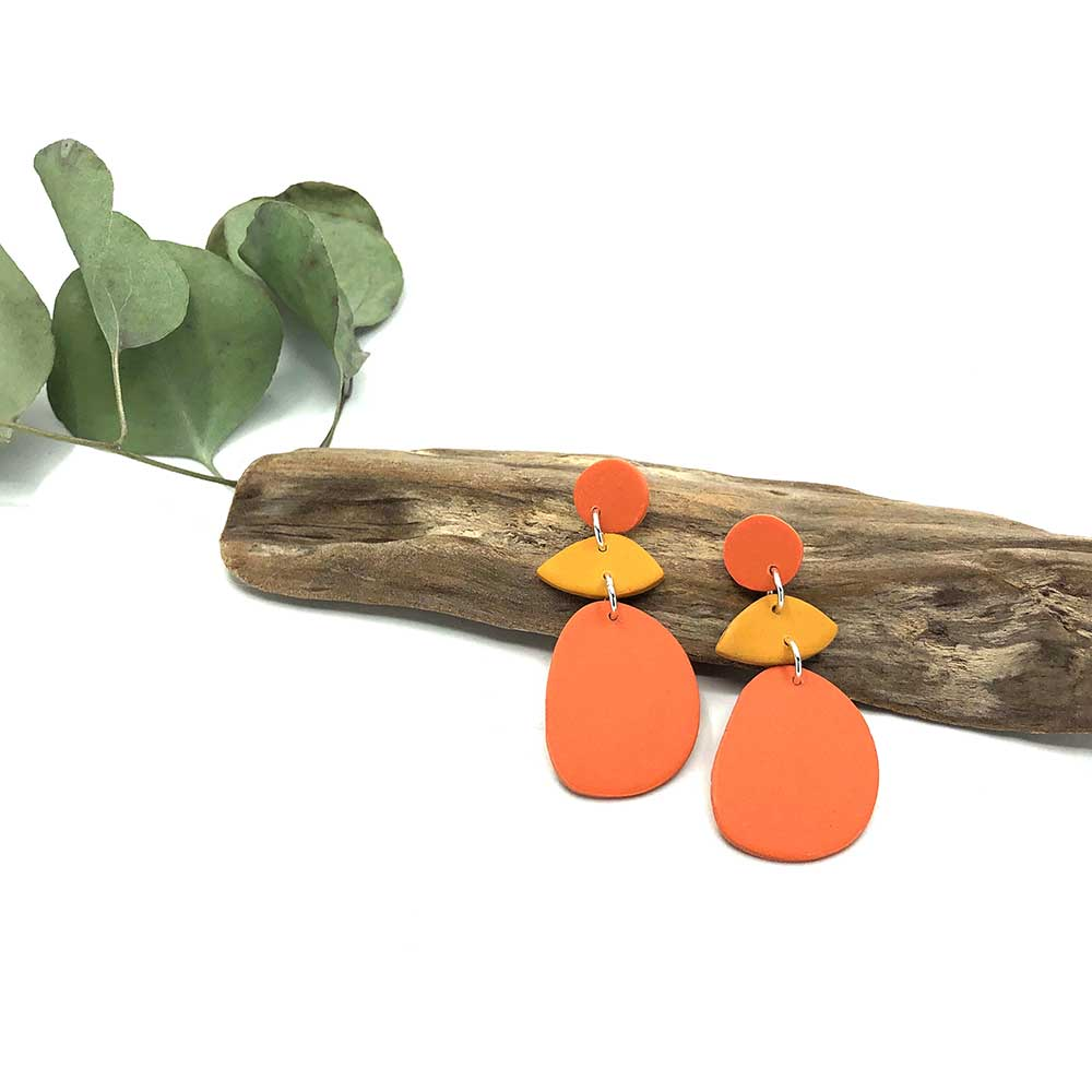 Pumpkin & Ochre Autumn Clay Earrings