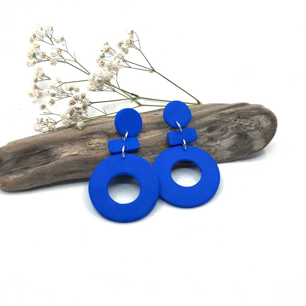 Electric Blue Hoop & Dash Clay Earrings