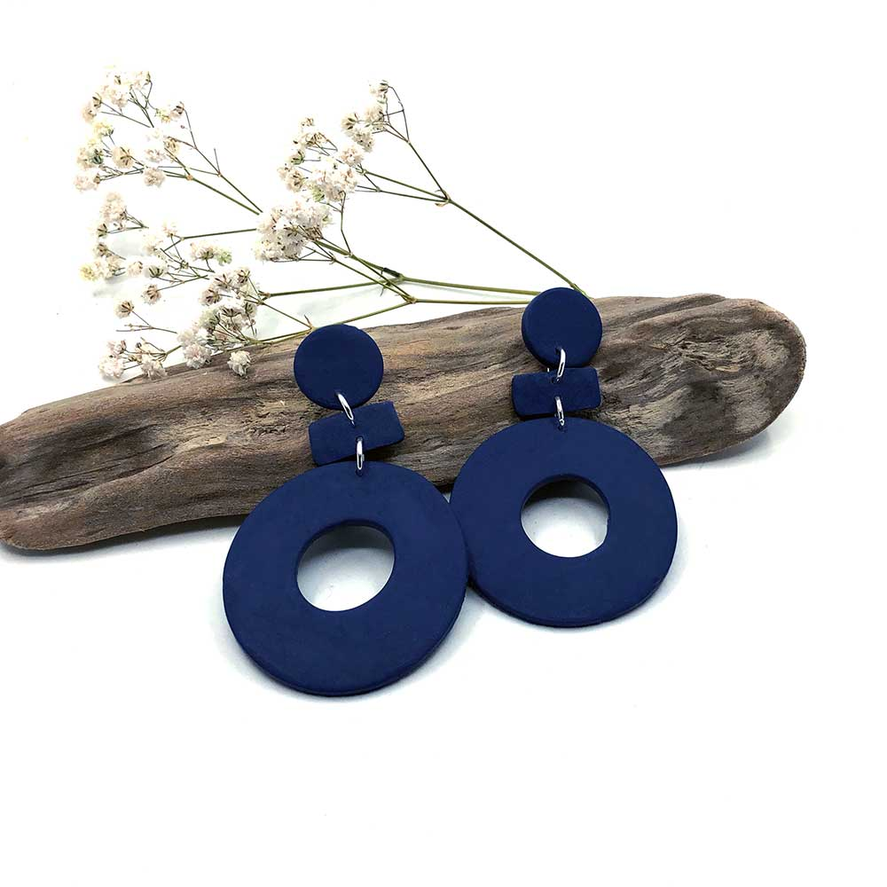 Navy Blue Hoop & Dash Clay Earrings