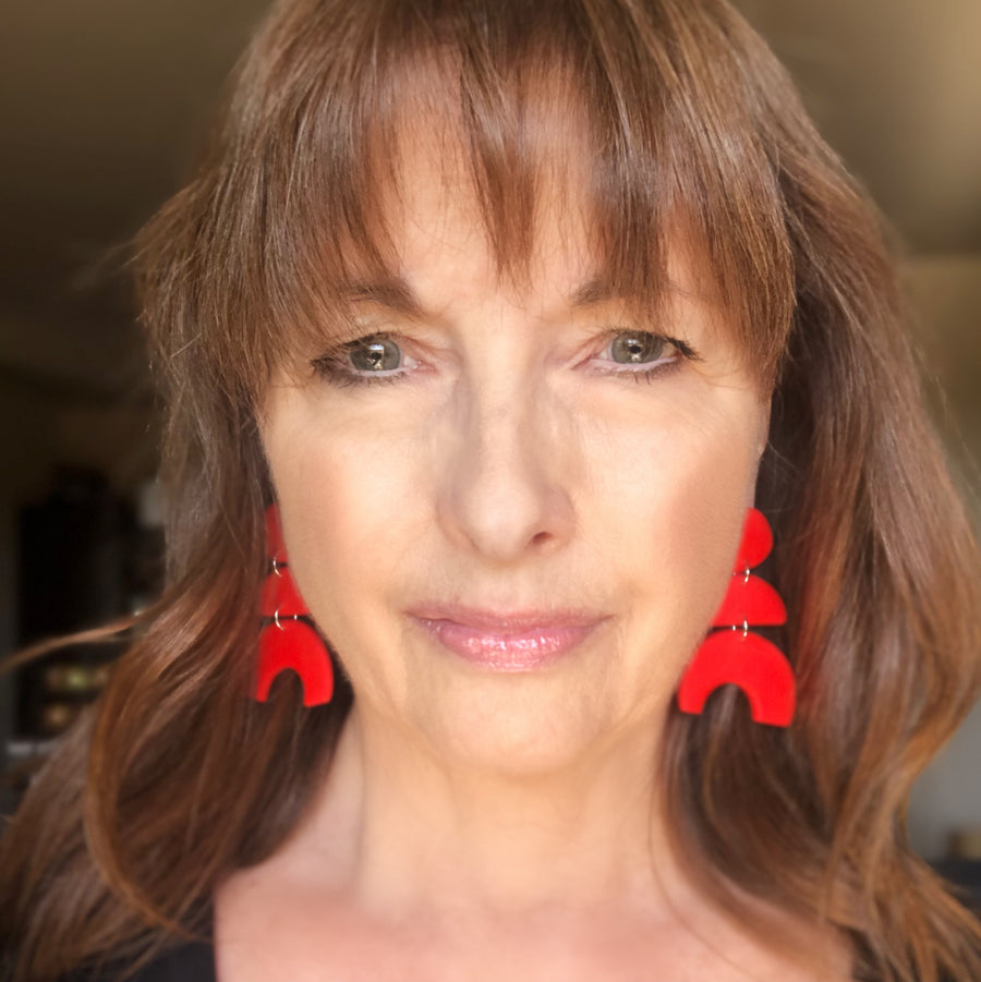 Just Red Arch Clay Earrings