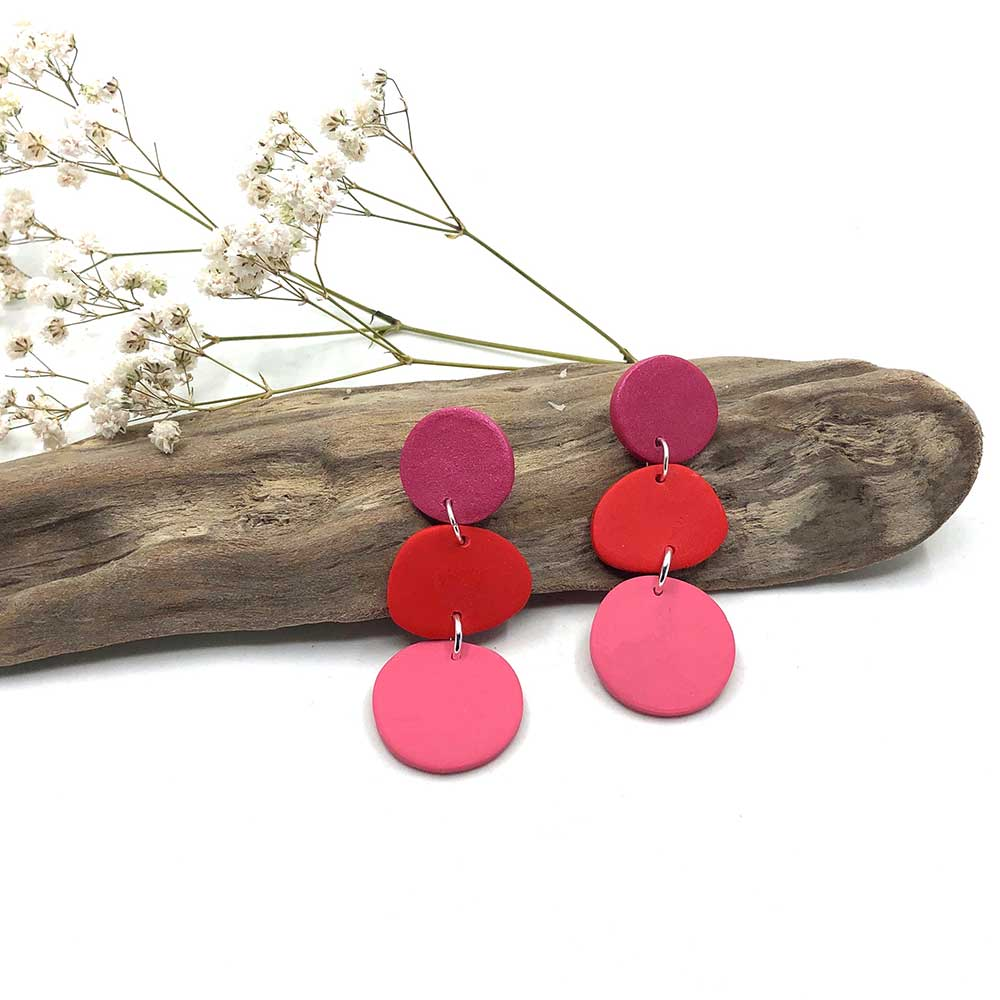 Raspberry, Red and Blush Organic Shape Clay Earrings