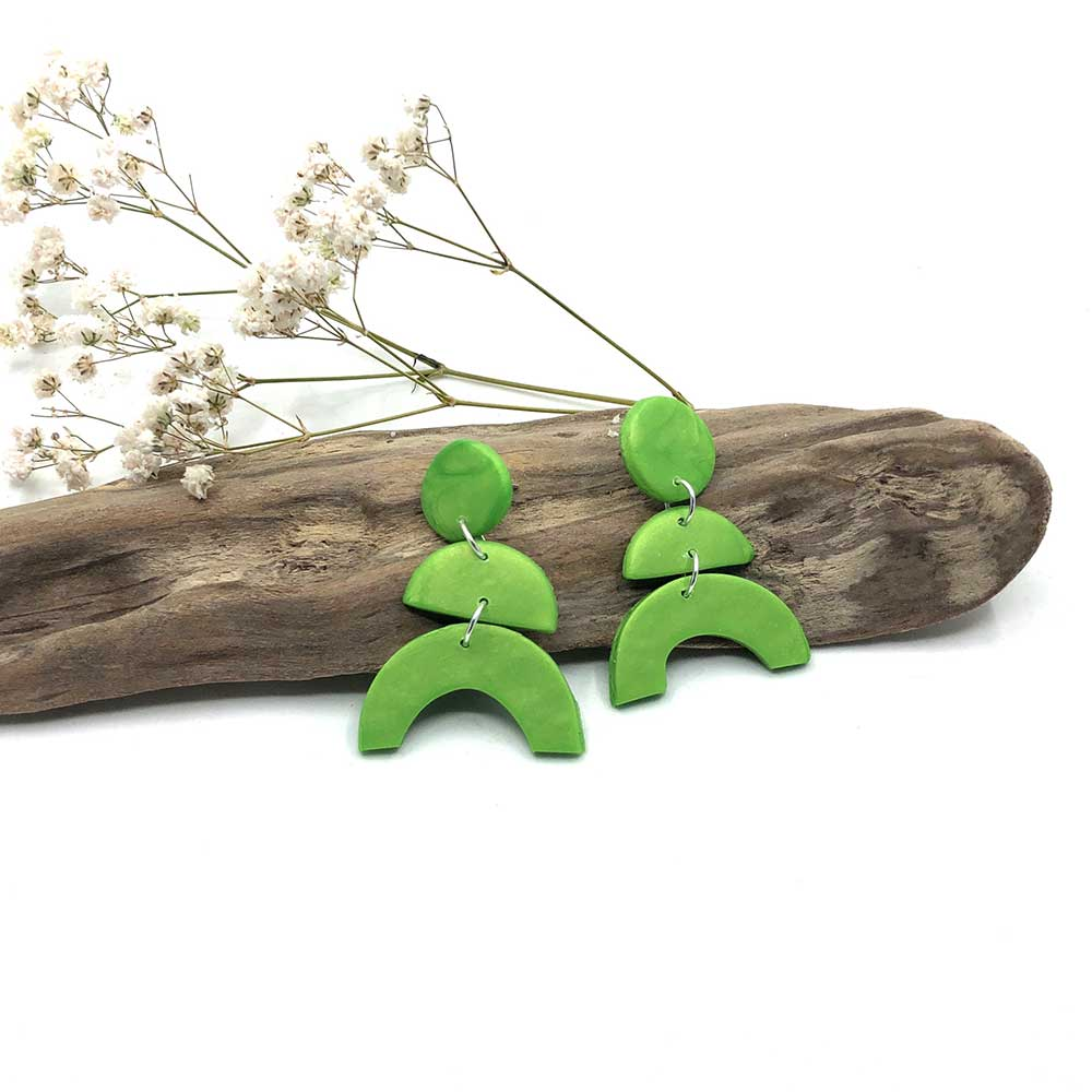 Bright Green Arch Clay Earrings
