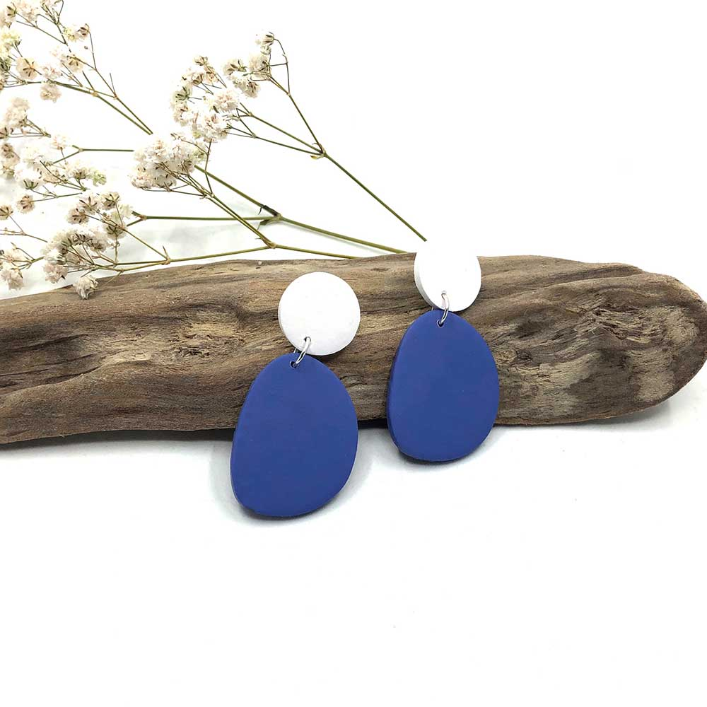 Cornflower Blue & White Organic Shape Clay Earrings