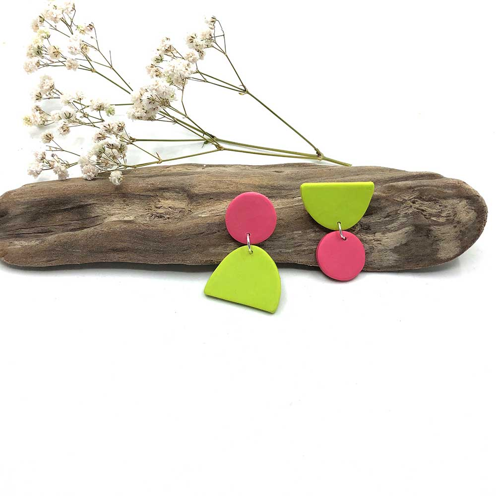 Blush & Wasabi Clay Earrings