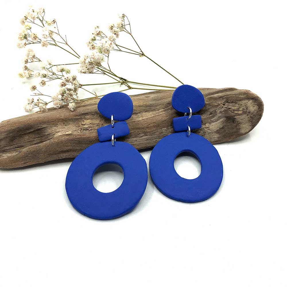 Cornflower Blue Hoop & Dash Clay Earrings