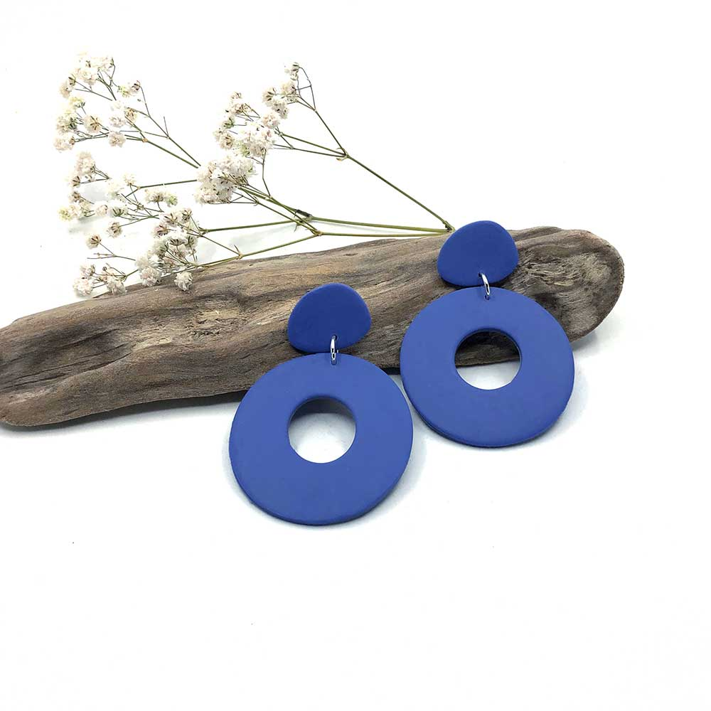 Marine Blue Hoop & Blob Clay Earrings