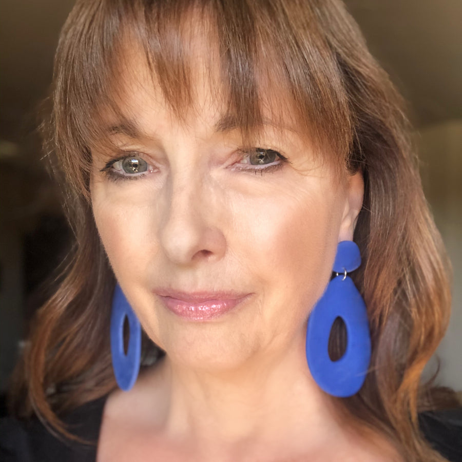 Cornflower Blue Hoop & Blob Clay Earrings