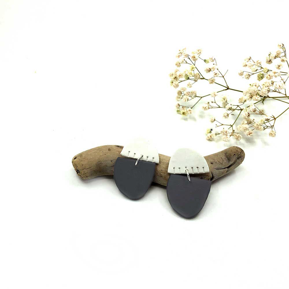 Slate Grey & White Slash Dot Clay Earrings