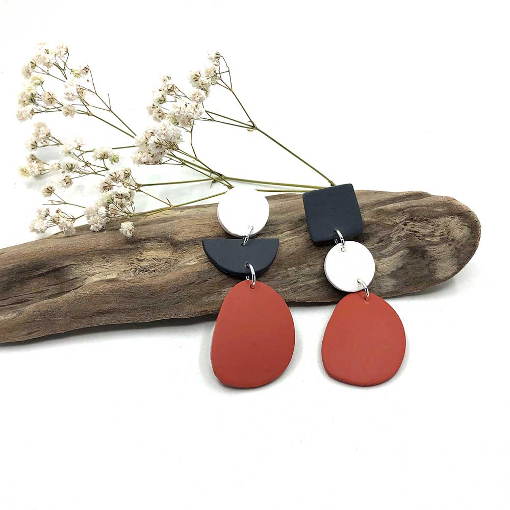 Terracotta, Charcoal & White Clay Earrings