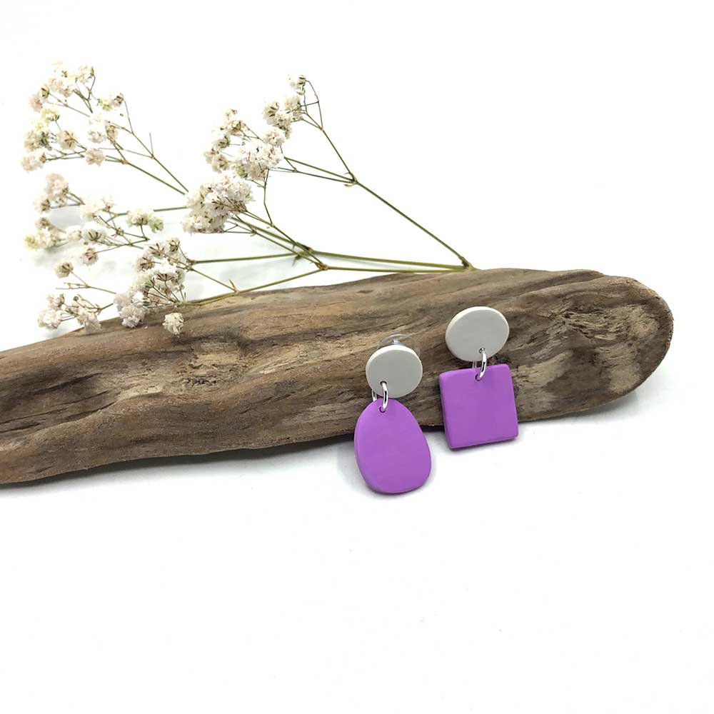 Lavender & White Clay Earrings