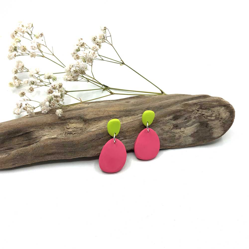 Blush Pink and Wasabi Clay Earrings