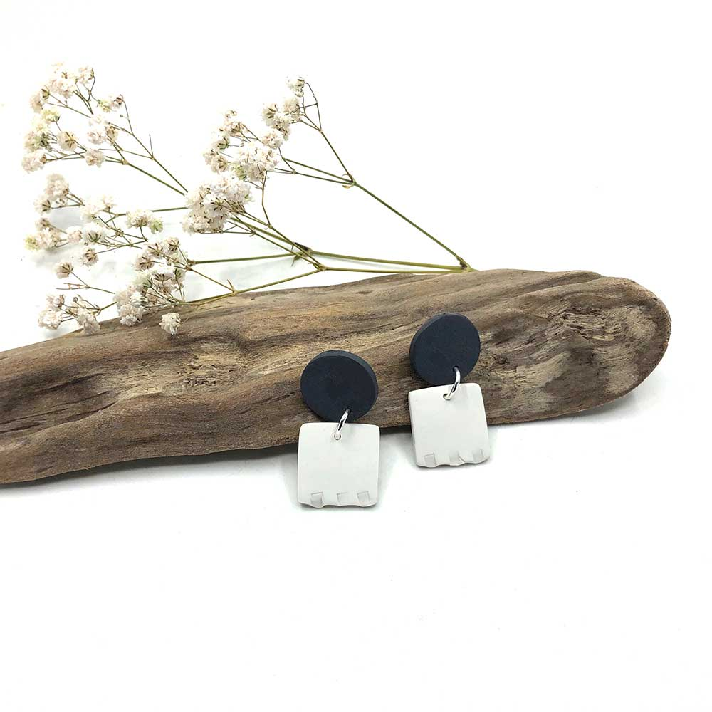Charcoal & White Fluted Clay Earrings