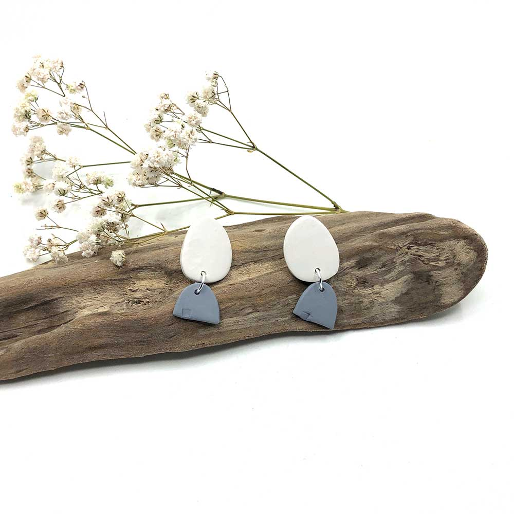 White with Notched Grey Clay Earrings