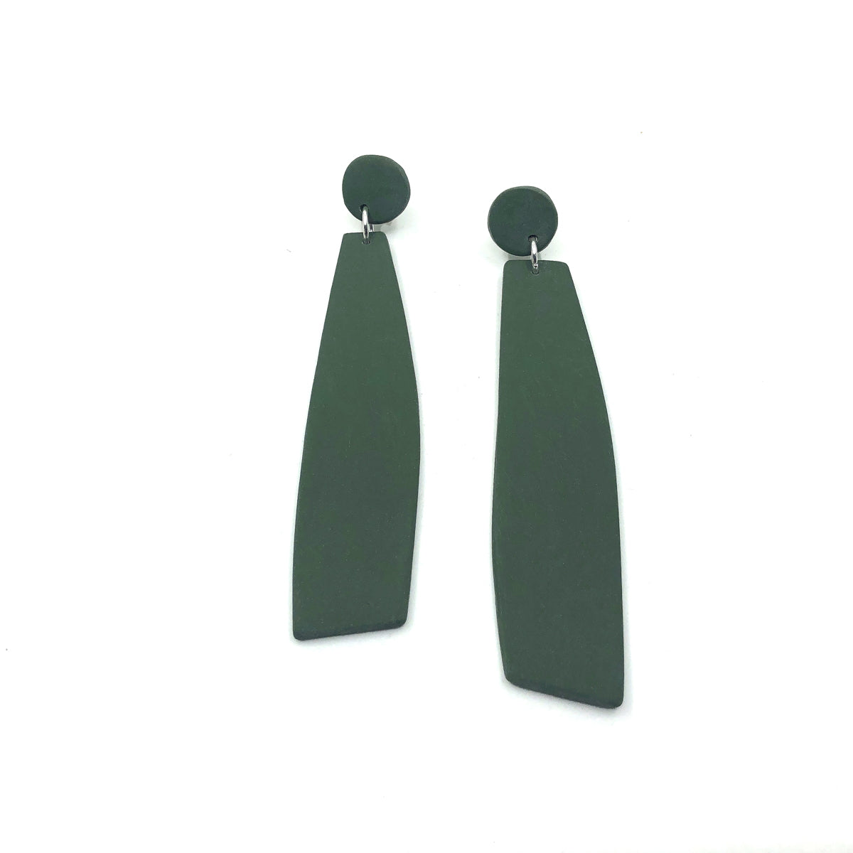 Army Green Clay Long Dangle Earrings