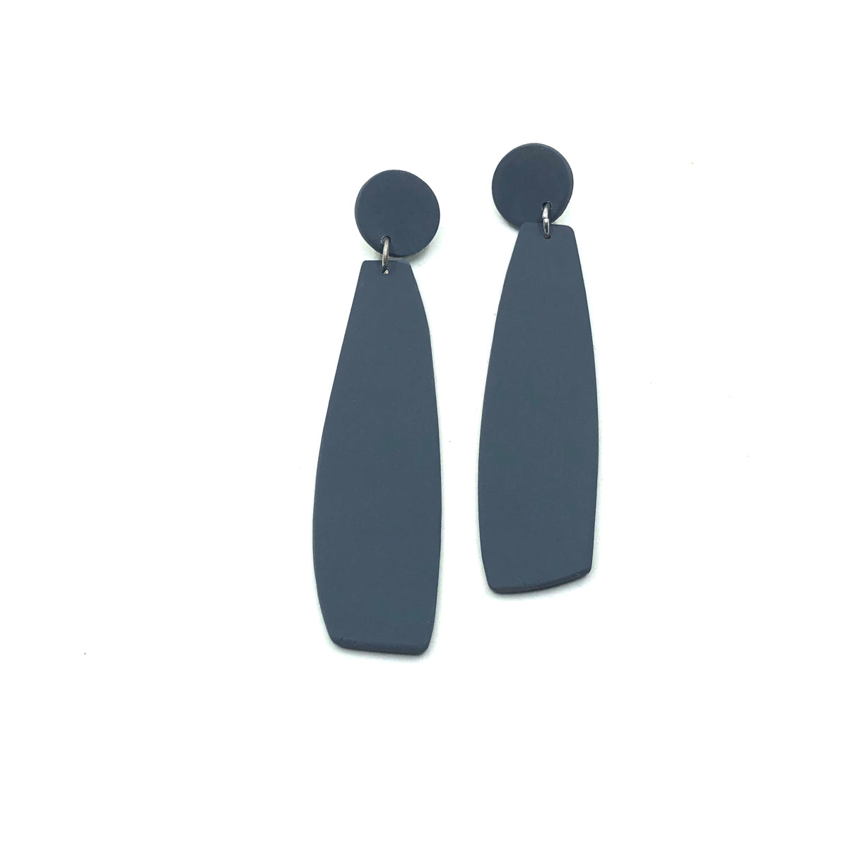 Slate Grey Clay Long Dangle Earrings