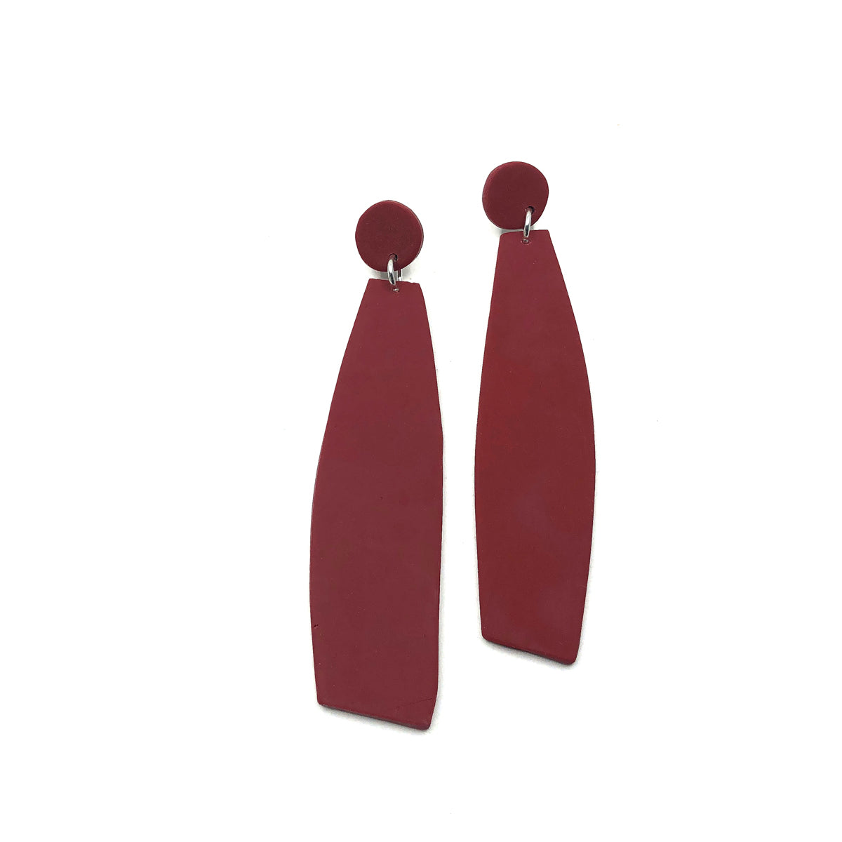 Red Carmine Clay Long Dangle Earrings