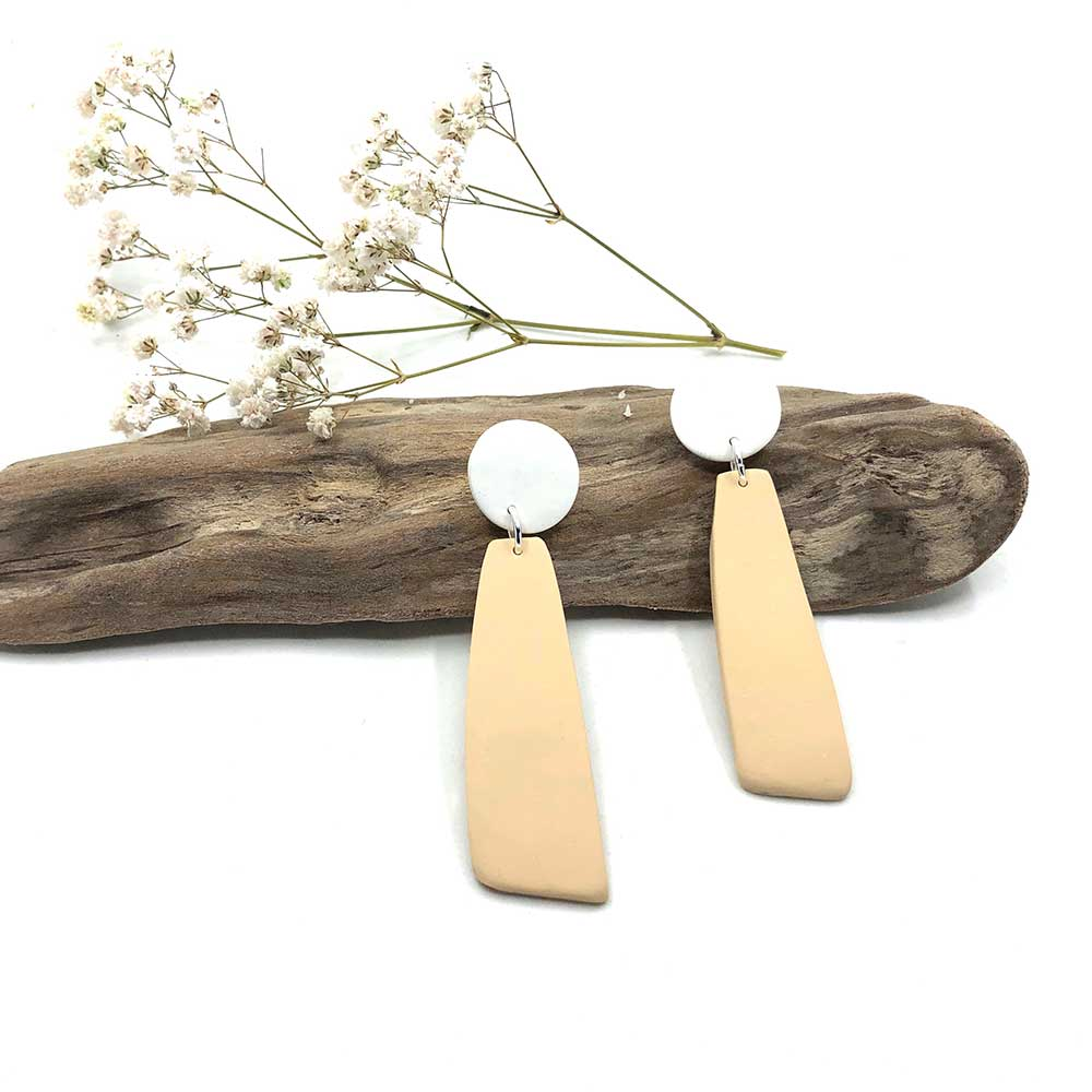 Ecru & White Clay Dangle Earrings