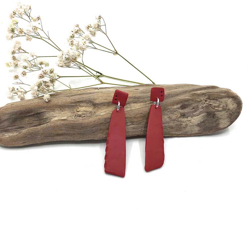 Red Carmine Notched & Dotted Clay Dangle Earrings