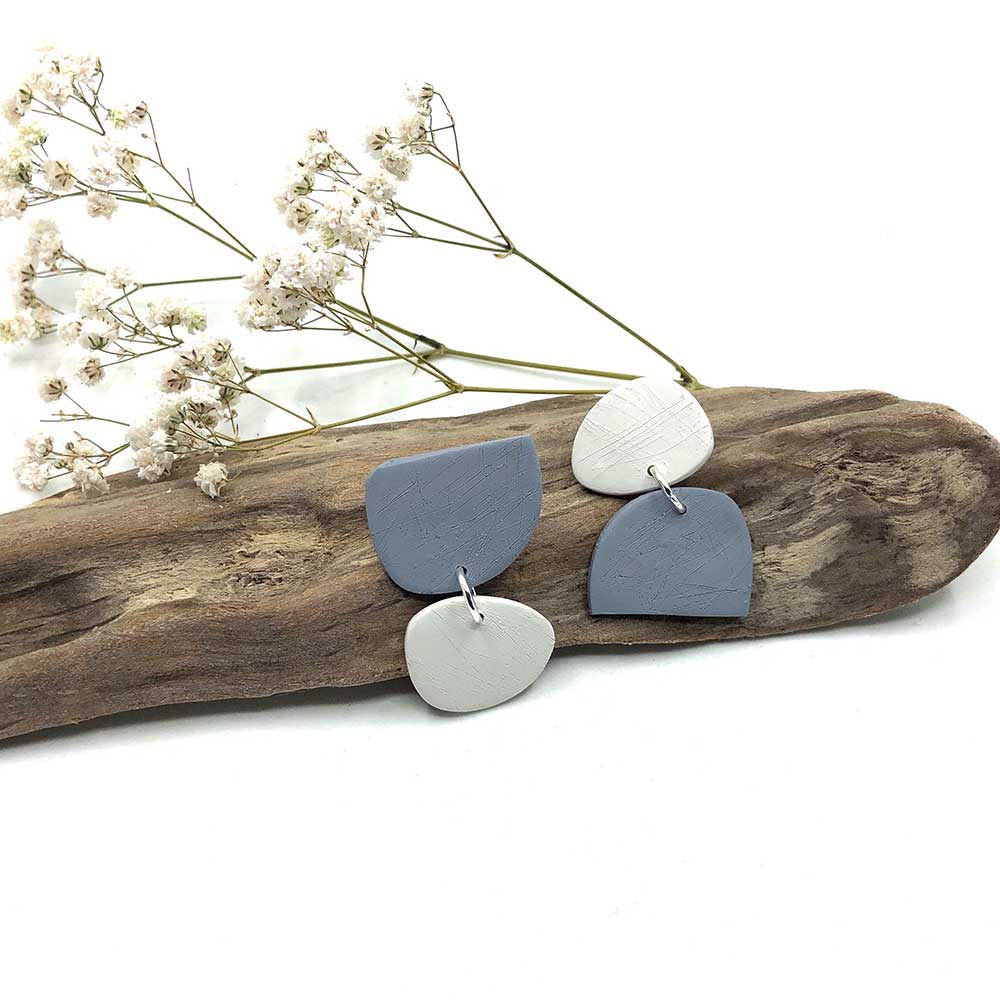 Grey & White Reflect Shape Clay Earrings