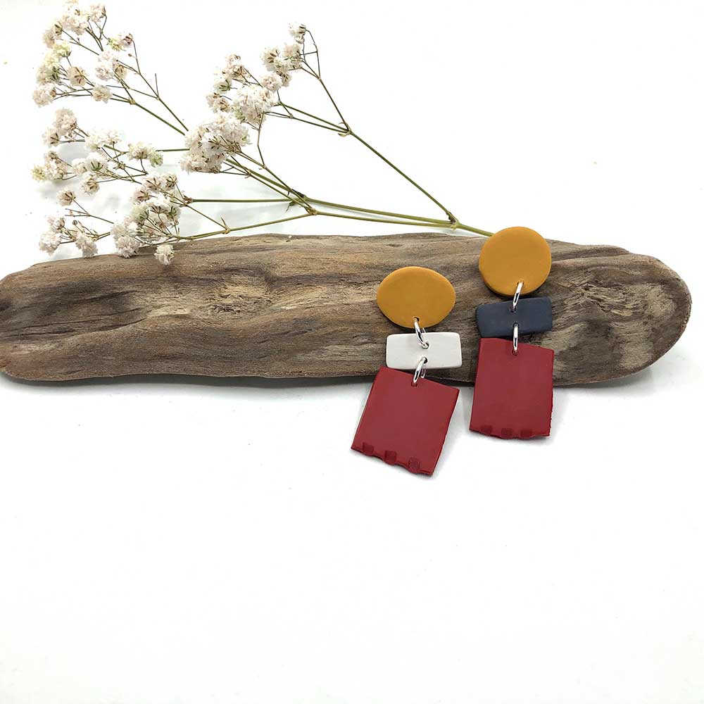 Carmine Red, White, Gold Clay Earrings