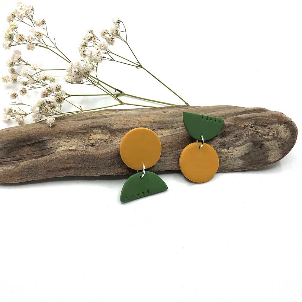 Olive Green & Ochre Notched Clay Earrings