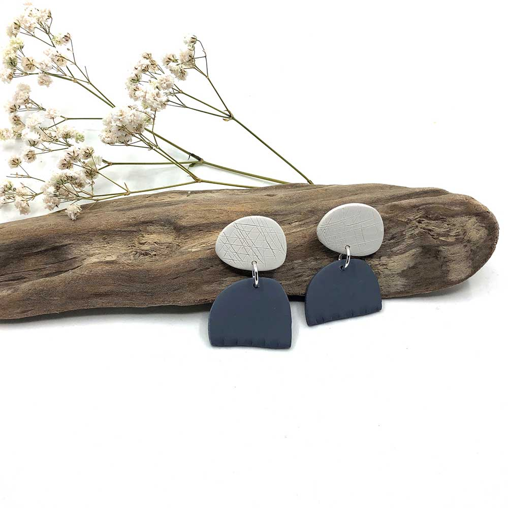 Grey & White Blob & Notched Clay Earrings