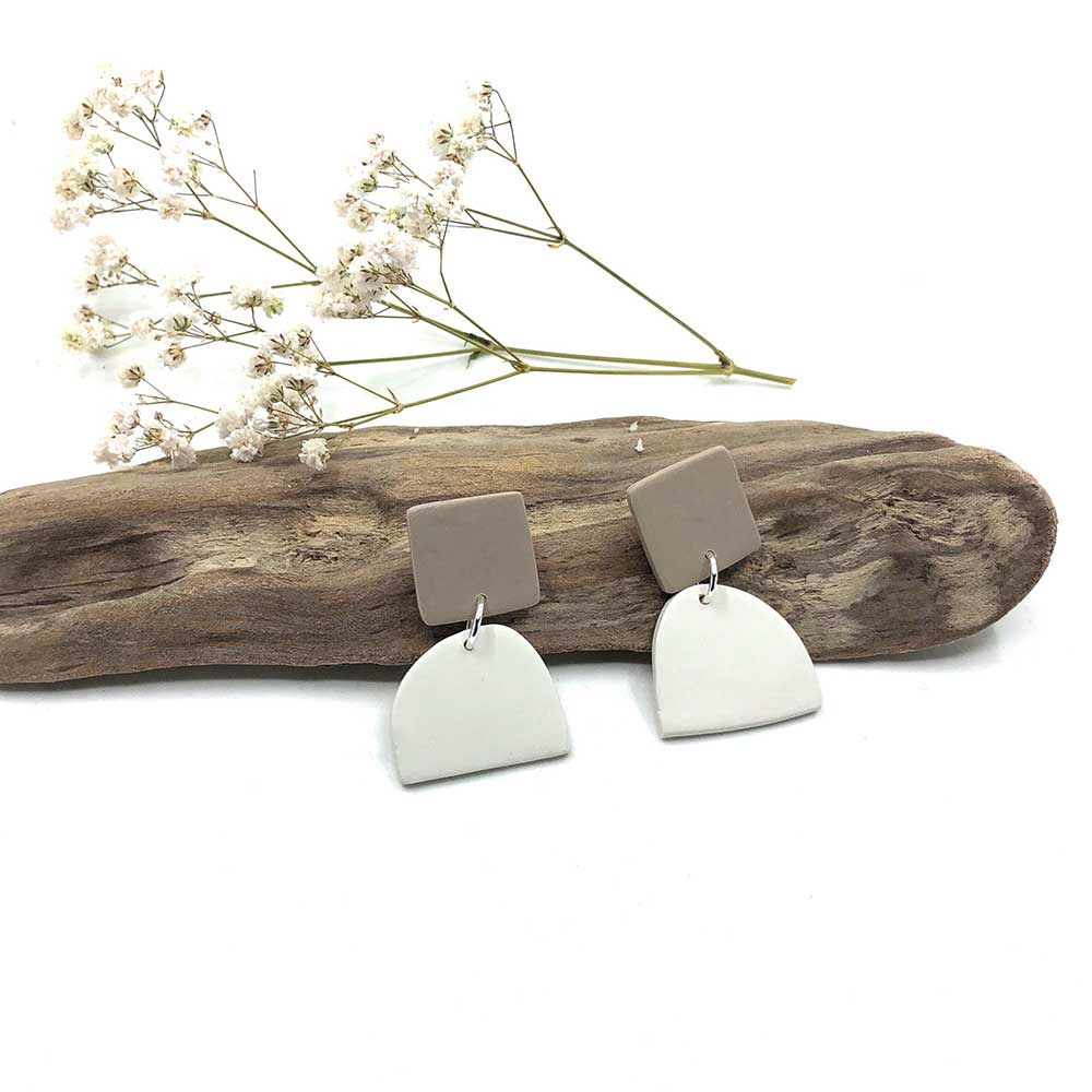 Taupe & White Clay Earrings