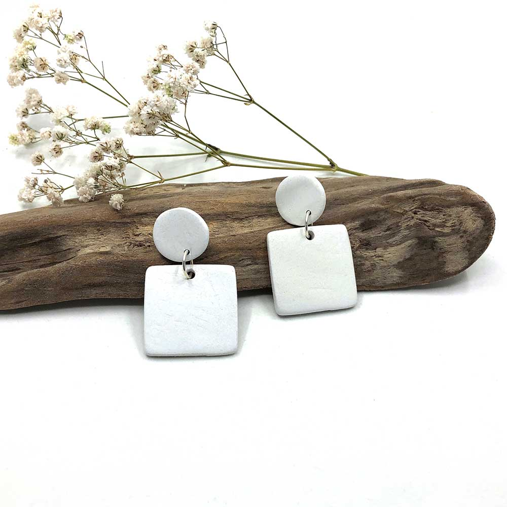 White Square & Round Porcelain Clay Earrings