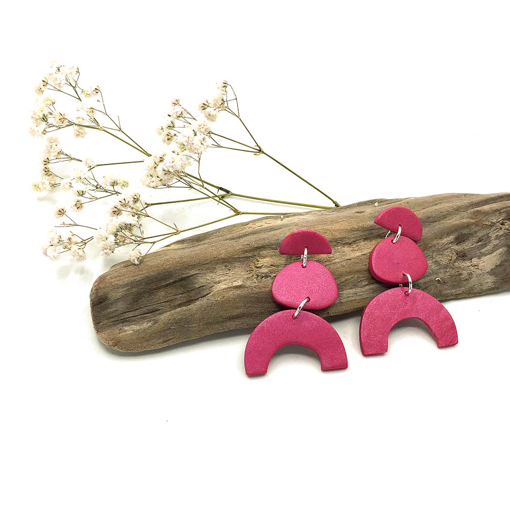 Raspberry Arch Clay Earrings
