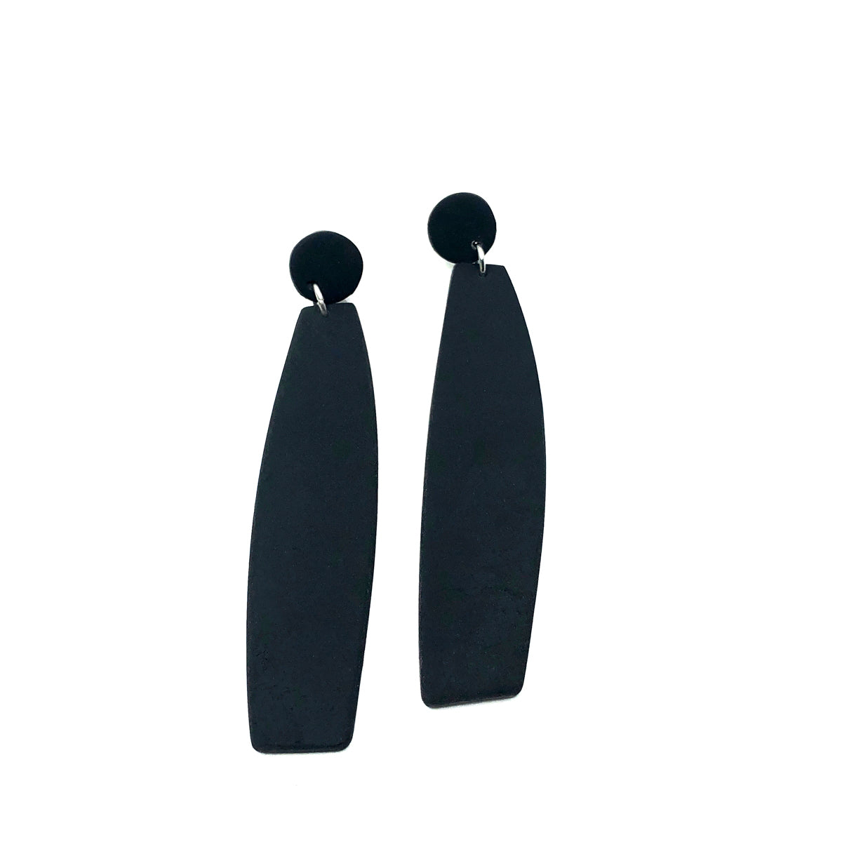 Black Long Dangle Clay Earrings