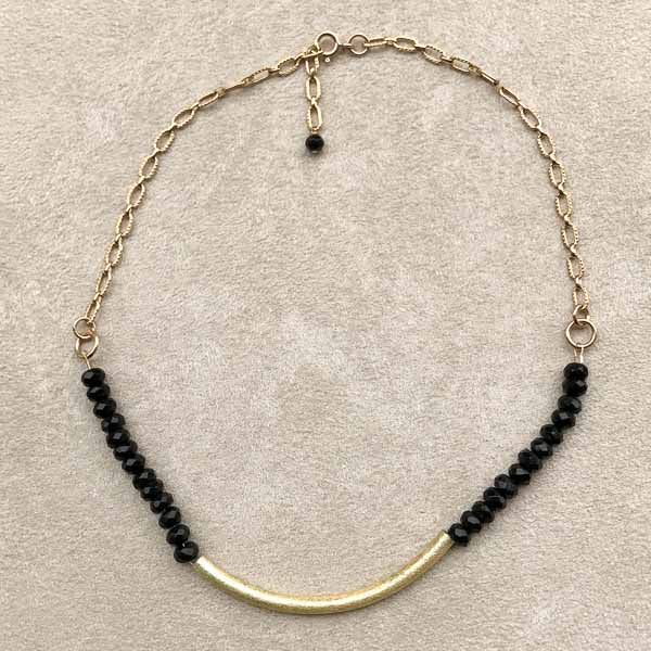 Black Onyx & Gold Choker Style Necklace
