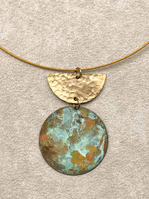 Hammered Verdigris & Patina Necklace