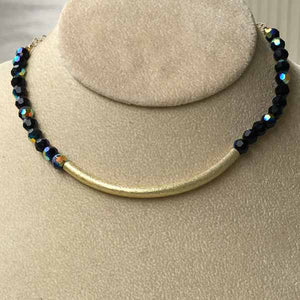 Jet Swarovski Crystal & Gold Choker Style Necklace