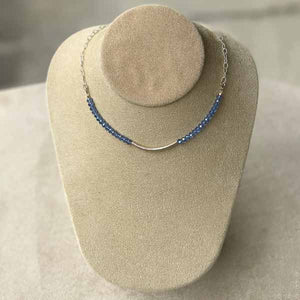 Azure Crystal & Silver Choker Style Necklace
