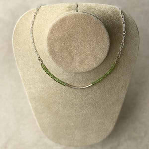 Peridot Green Crystal & Silver Choker Style Necklace