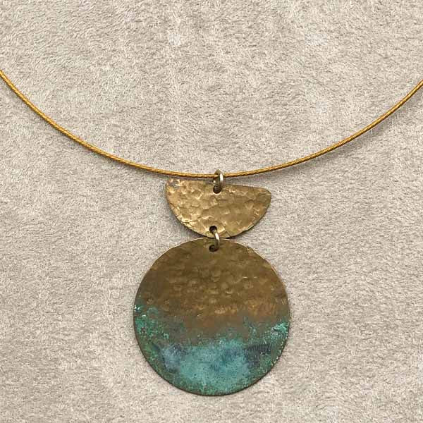Turquoise Patina & Hammered Brass Necklace